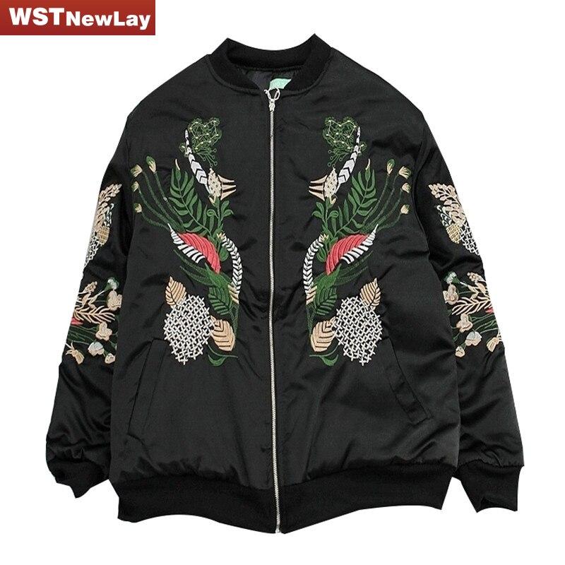Primavera de China Bordado Básico Chaquetas Bomber Jacket Women Negro Streetwear