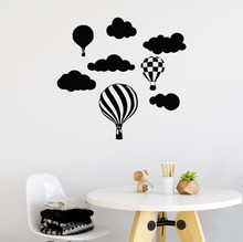 Vinyl Wall Decal Hot Air Balloon and Cloud Sticker Removable Kids Room Decoration Pattern Mural AY399
