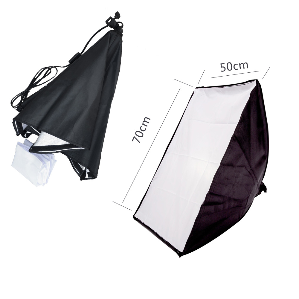 Lightdow 50 * 70CM Photography Studio Wired Softbox Portalampada con attacco E27 per studio illuminazione continua con borsa da trasporto