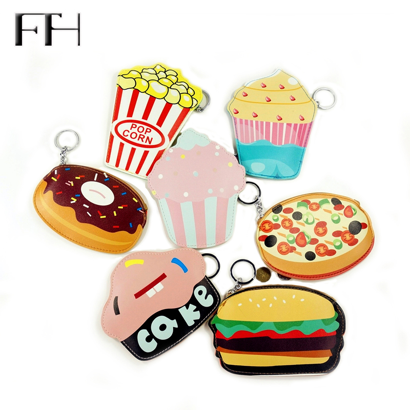 Creative mini Cartoon food cute cheap coin Purse For Girl women lovely key purse hamburger Cake Popcorn Kids Zipper Change purse