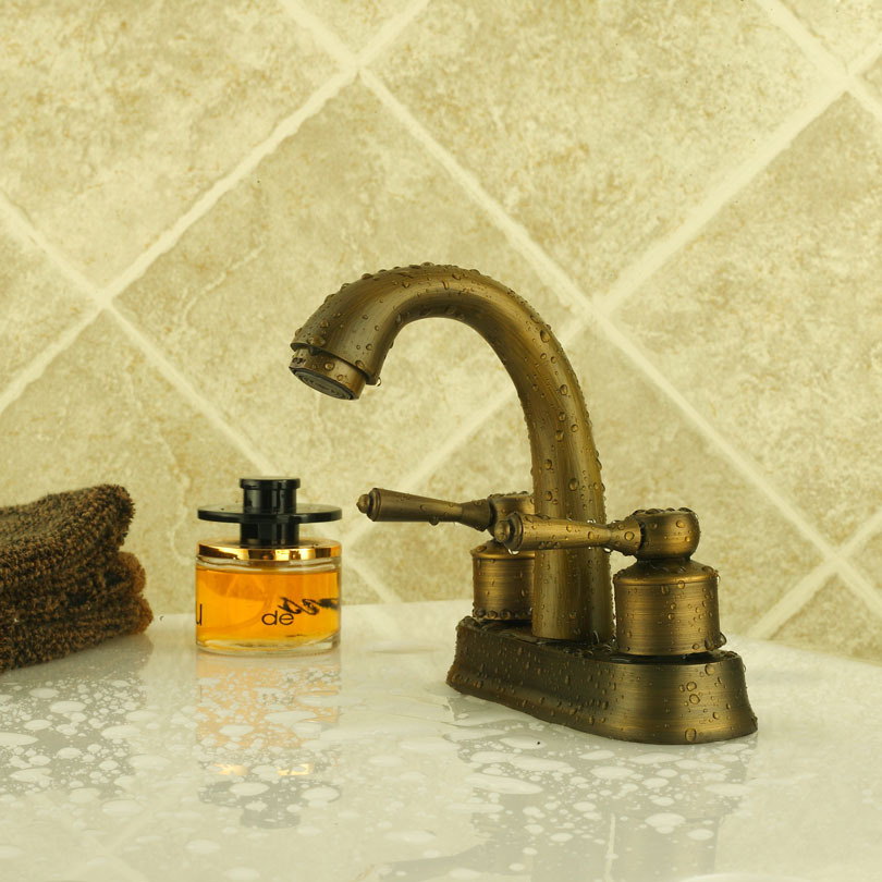 4 Inch Centerset Lavatory Faucet 8021 Brushed Aged Bronze Bathroom Sink Faucet Bathroom Mixer