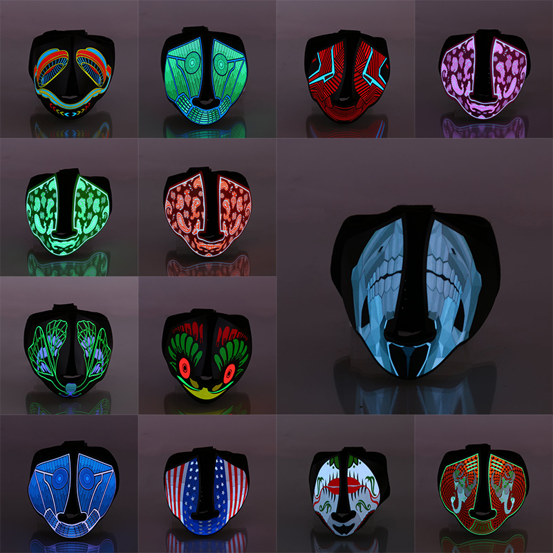 Halloween Sound Control LED Party Masks <font><b>Terror</b></font> Glowing Masks Cold Light Helmet Fire Festival Party Supplies Dancing Mask image