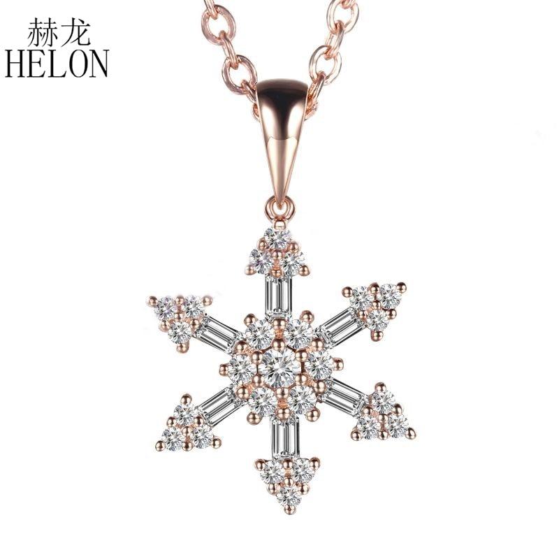 HELON solide 14 K (585) ensemble de broche en or Rose ronde pleine et Baguette diamants naturels forme de flocon de neige pendentif de bijoux de fête de mariage