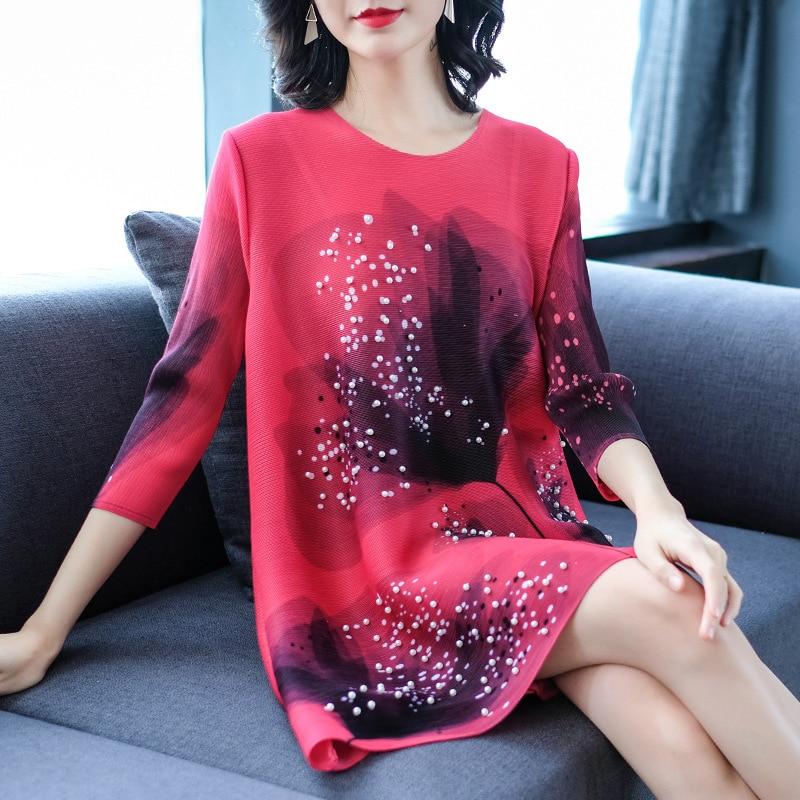 Tamaño Mujer Primavera Moda Nueva Vestidos red Gran De Suelta Uñas Impreso Orange purple Retro pink Falda w8qUxx