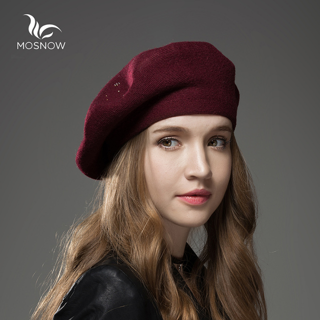 6be810712 Wool Beret Girls Female Winter Hats For Women Flat Cap Knit 100% Cashmere  Beret Lady Warm Hat Female Bone With Rhinestone