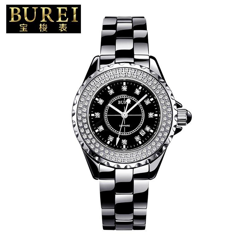 BUREI Brand Elegant Ladies Sapphire Crystal Ceramic Band Quartz Watch Waterproof Wristwatches With Premiums Package 18003 цена