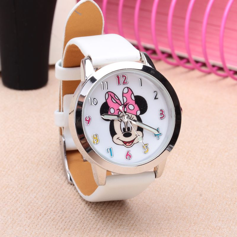 Drop Shipping Cartoon Beautiful Girl Minnie Mouse Style Color Number Dial Children Students Girl's Leather Quartz Watch #4
