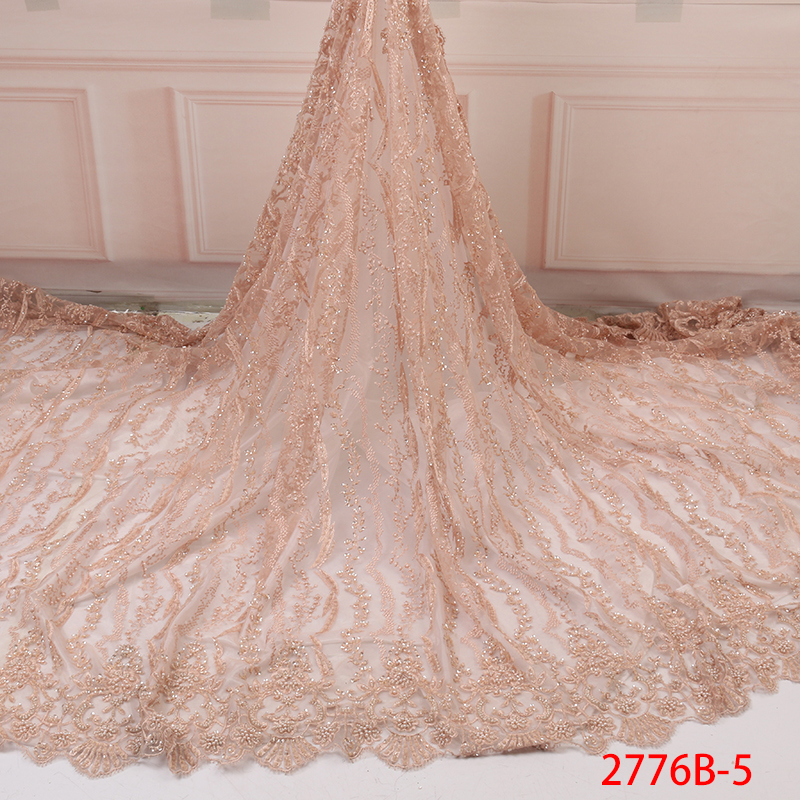 French Tulle Lace Fabric Hot Sale African Embroidered Net Lace Nigerian Lace Fabric With Heavy Beads For Party Dresses KS2776B-5