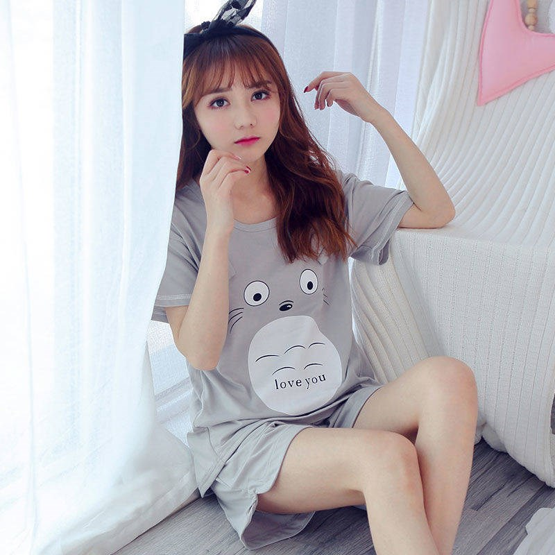 Summer Women   pajamas   Comfortable Cute   Pajama     Set   Girl cartoon Print Pyjama   Set   Short Sleeve Sleepwear Suit Women gray Nightshirt