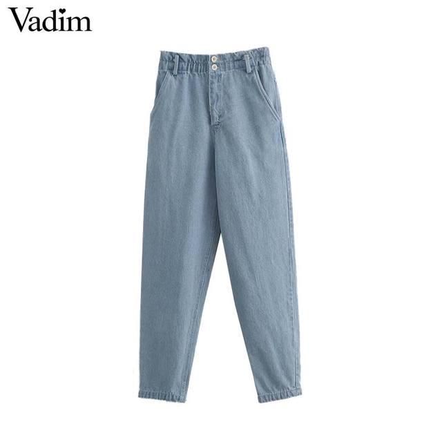 Vadim נשים מקרית paperbag מותניים כיסי ג 'ינס גבוה מותניים רוכסן לטוס נשי מלא אורך ינס מכנסיים pantalones mujer KB031