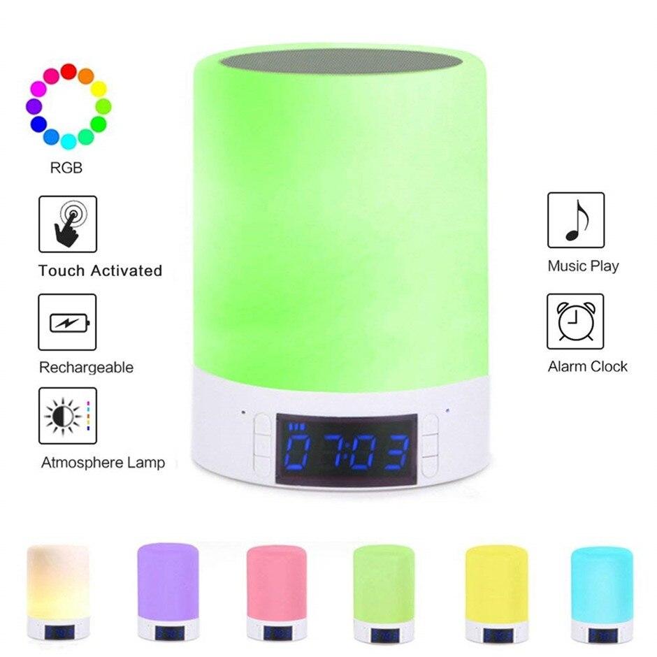 Veilleuse bluetooth haut-parleur lampe de chevet commande tactile alarme colck LED à changement de couleur sans fil haut-parleur tactile lampe pour les enfants