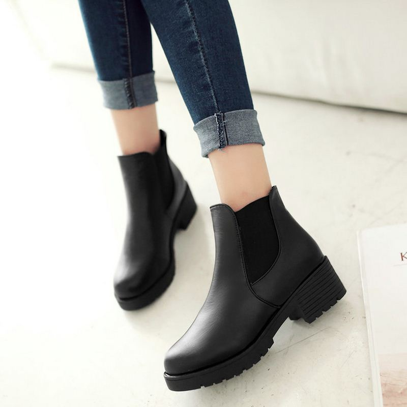 9ef688206be US $35.06  Ladies Ankle Boots Women Square Zapatos Mujer Sexy Short Boots  Chunky Ladies Chelsea Boots Black Shoes Woman Size 35 39-in Ankle Boots  from ...