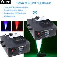 2 шт./партия 1500 Вт RGB 3в1 DMX светодиодная дым машина pyro вертикальная машина для дыма Fogger 24 шт. RGB 3в1 СВЕТОДИОДНЫЙ Красочный противотуманный стан