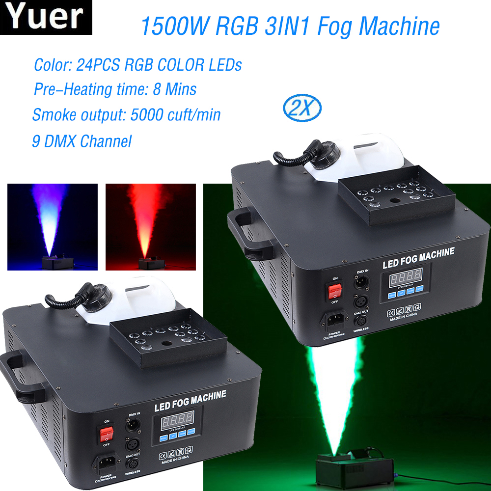 2pcs/lot 1500w Rgb 3in1 Dmx Led Fog Machine Pyro Vertical Fogger Smoke Machine 24pcs Rgb 3in1 Led Colorful Fog Machine Lights & Lighting