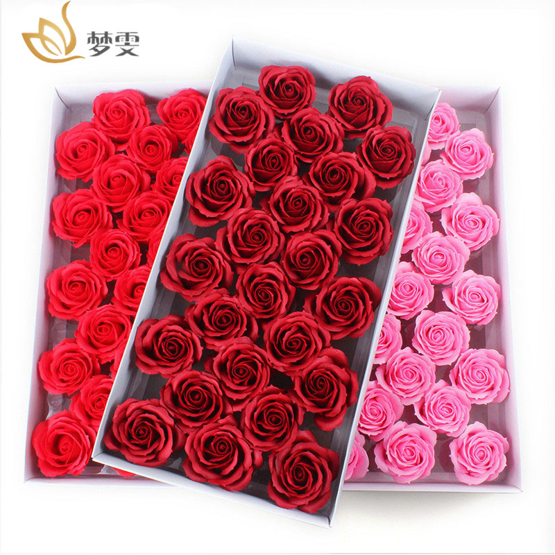 25Pcs/Box Big Size Bath Soap Rose Flower Plant Essential Oil Soap Romantic Wedding Party Gift Handmade Petals Decor