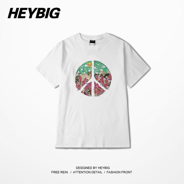 Signo de la paz Impreso camisetas Brasil Estilo de Los Hombres Camisetas de Algodón de Cuello Redondo Tops Corto-manga de la Ropa de La Calle HEYBIG Chino TAMAÑO