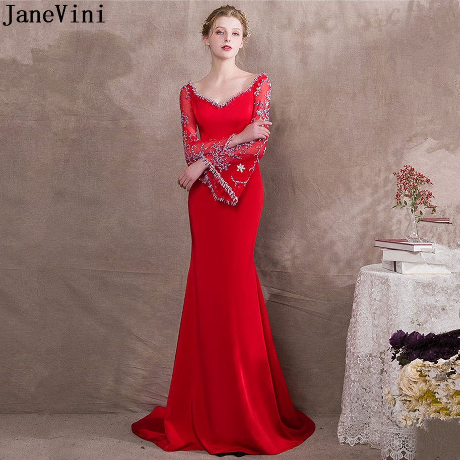 JaneVini Elegant Red Satin   Bridesmaid     Dresses   2019 Sweetheart Long Sleeves Beading Backless Sweep Train Mermaid Party Prom Gowns