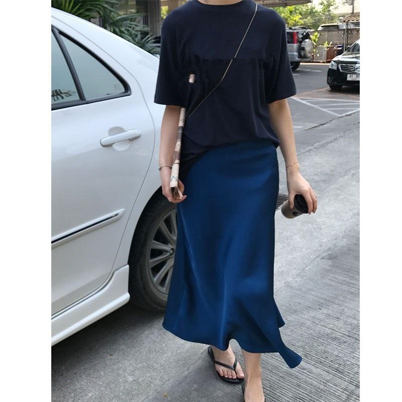 Elegant Casual Solid Silk Satin Midi A-Line Skirt 2019 Summer New Women High Waist Skirts