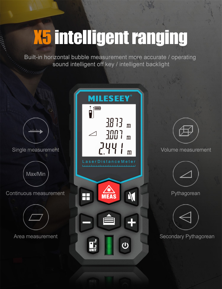 MiLESEEY Laser Distance Meter with Auto Laser Off and for Volume and Area Measurement 1