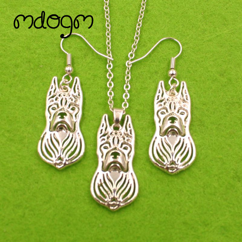 Mdogm Boxer Dog Animal Jewelry Sets Necklace Drop Earrings Pendant Gift For Women Female Fashion Cute Wedding Christmas T080