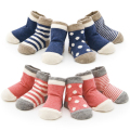 4 PCS Set Lot For Boys Girls Baby Socks Cotton Stripe Wave Point Non-slip Bebe Infant 0-3 Years Child For Newborn Socks Winter