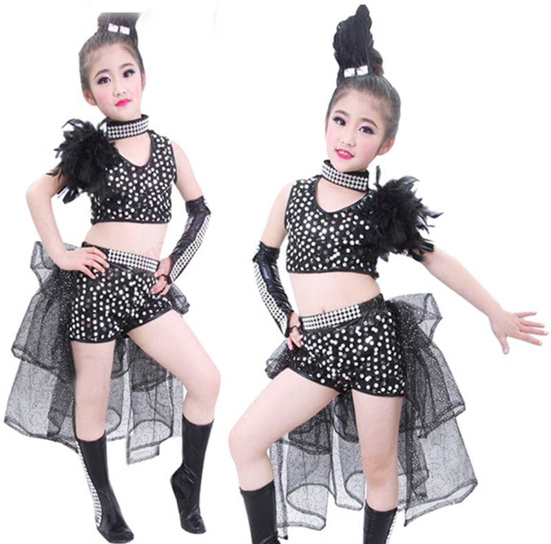 2019 New Girls' Sequined Feather Jazz Dance Costume Ballroom Dress Hip-Pop Dancwwear Sequins Mordern Top+skirt 110-150cm