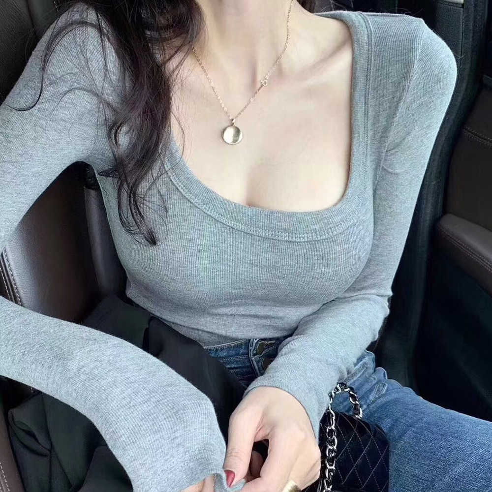 Shintimes хлопковая футболка с длинным рукавом женская сексуальная 2019 Базовая однотонная тонкая футболка Корейская одежда футболка Женские футболки Mujer