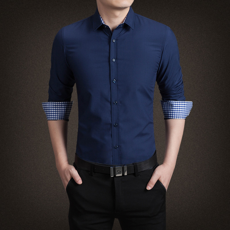 Cheap Mens Shirts Men Casual Shirt Mens Dress Clothing Design Shirts for Men #MS Lee Uniforms Men's Long Sleeve Dress Shirt at Amazon Men's Clothing store: Button Down Shirts Maroon dress shirt, gray slacks, and black belt with two-toned white and gray tie.
