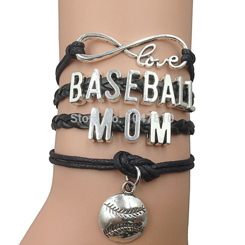 Aliexpress Baseball Mom Infinity Bracelet Black Leather Wax Cord Make Your Own Design Free Shipping From Reliable Suppliers On