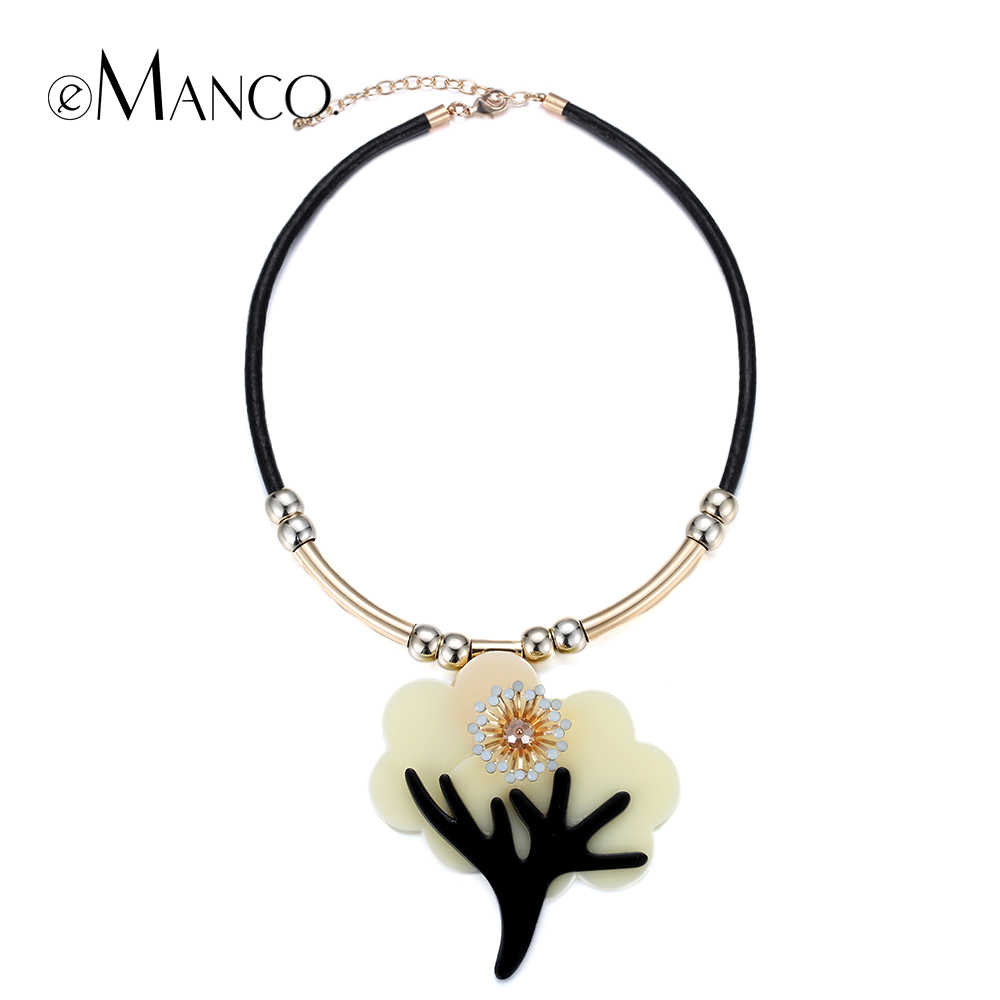 eManco Tree pendant black leather necklace cord  necklace copper jewelry crystal flower collares mujer necklace