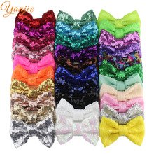 """500pcs/lot 4"""" Sequin Hair Bow WITHOUT Clips For Girls 2020 DIY Hair Accessories Kids Solid Glitter Messy Knot Bow Headbands"""