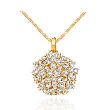 Lujo Shinning de La Flor Cubic Zirconia Colgantes Collares Bisutería Champagne Oro plateado Platino Accesorio