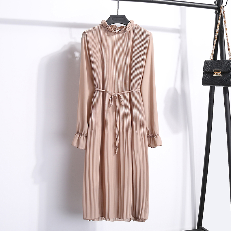 Women Two layers chiffon pleated dress 19 spring autumn female vintage elegant long sleeve loose casual office lady dress 2