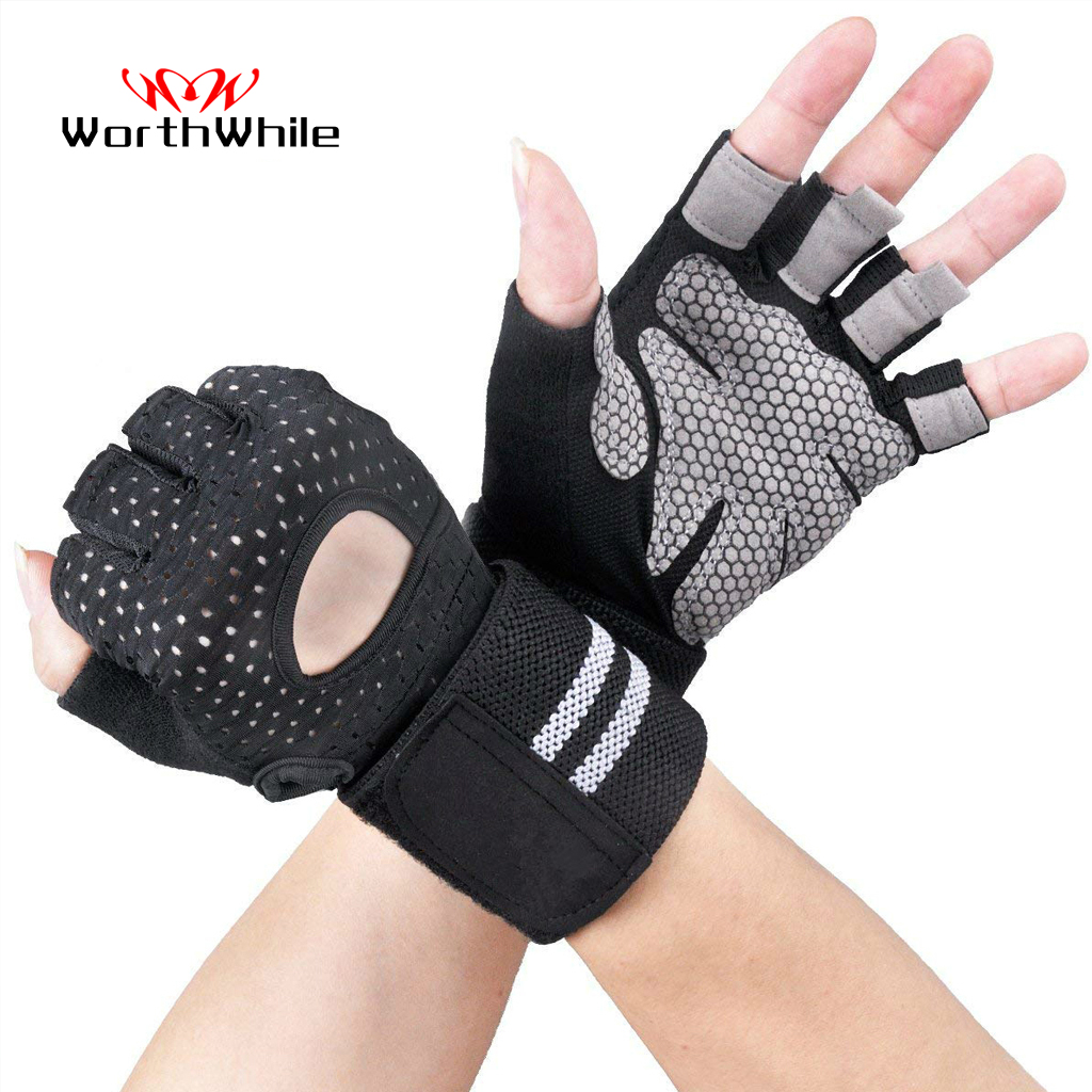 WorthWhile Half Finger Gym Fitness Gloves With Wrist Wrap Support For Men Women Crossfit Workout Power Weight Lifting Equipment