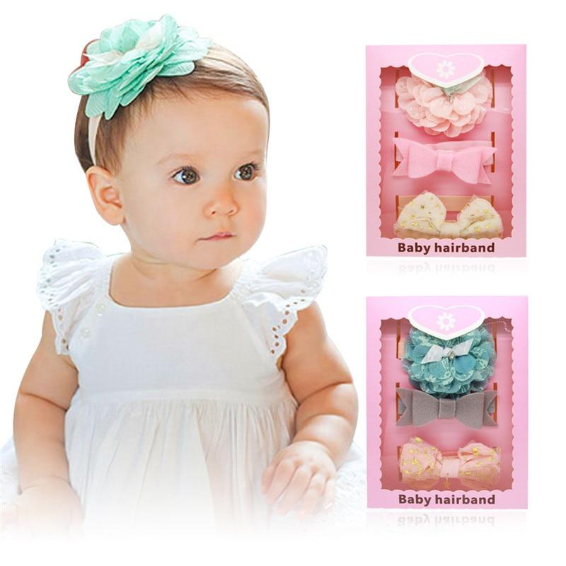 3PCS Baby Girls Hairband Bow Elastic Band Headband Flower Hair Accessories Gift