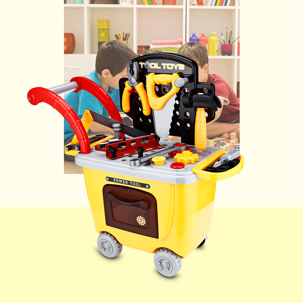 27pcs Kids Trolley Model Toys Children Simulation Repair Tools Educational Pretend Play Bauble With Portable Box new arrival girls play house toys simulation children cleaning trolley with vacuum cleaner tool hygiene with gift