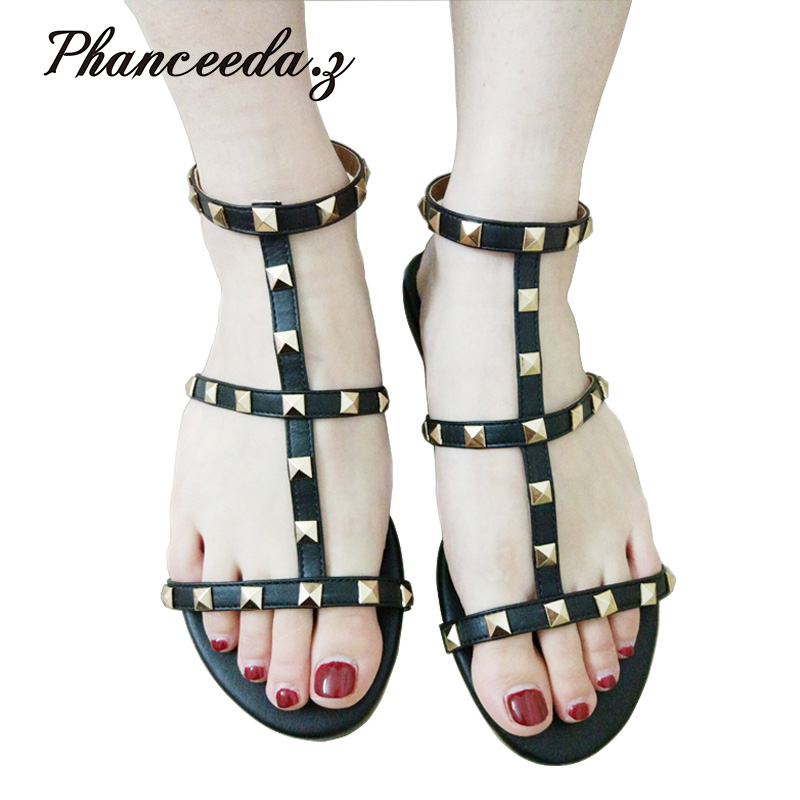 2017 Size 5-9 shoes women sandals Casual summer style Black Sandal Button Fashion Slippe ...