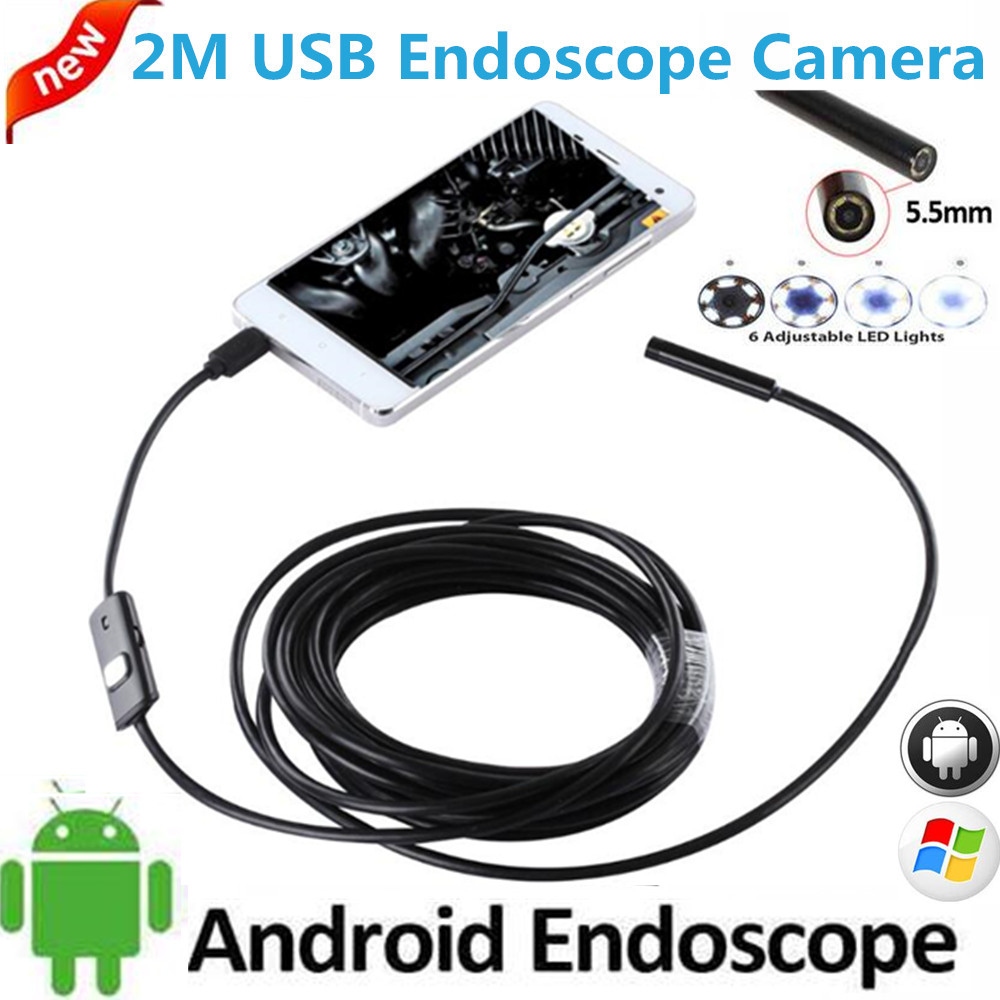 5.5mm OTG USB Endoscope Camera Android iPhone PC Snake Tube Pipe USB Endoskop Waterproof security surveillance borescope camera mini camera endoscope 2in1 android usb camera 2m 5m 8mm hd tube pipe waterproof phone pc usb endoskop inspection borescope otg