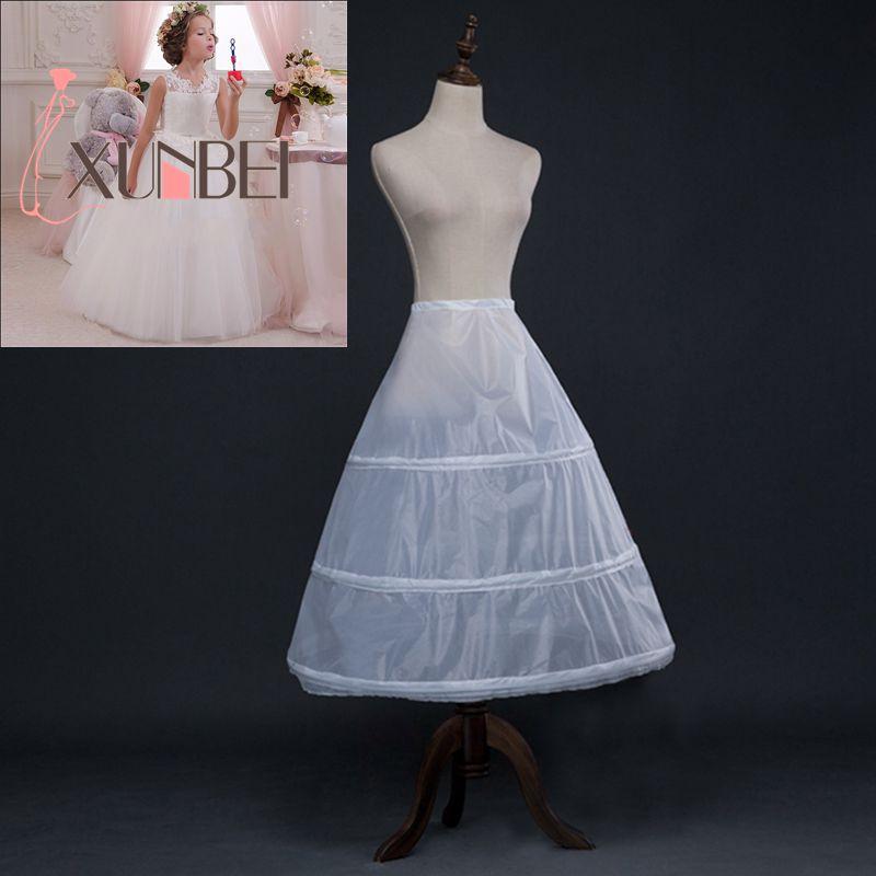 3 Hoops Weiß A Line Lange Blumenmädchen Kleid Petticoat Kinder ...