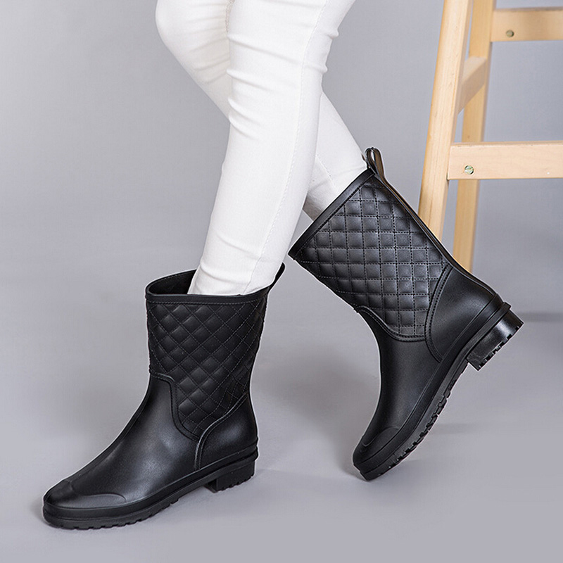 Plaid Rain Boots For Women - Yu Boots