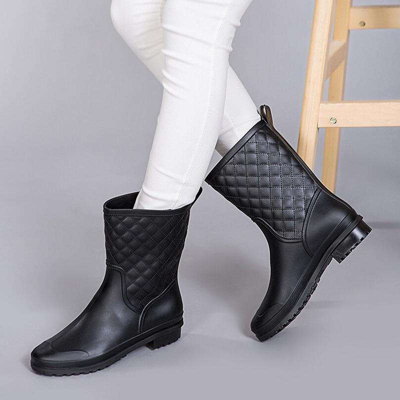 Plaid Rain Boots For Women - Yu Boots