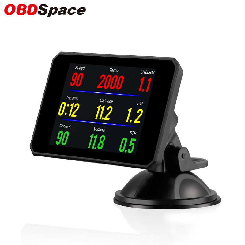 OBDSPACE P16 Diagnosis HUD Display On Board Computer Car Water Temperature Volt Digital Display Fuel Consumption Car Speed Gauge
