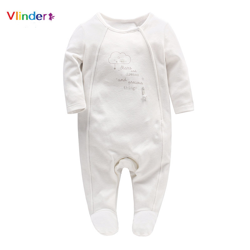 Vlinder 2018 New Casual Baby Romper Newborn Clouds Letters Print Botton Clothes  Infant Pajamas Long Sleeves 409da4490d85