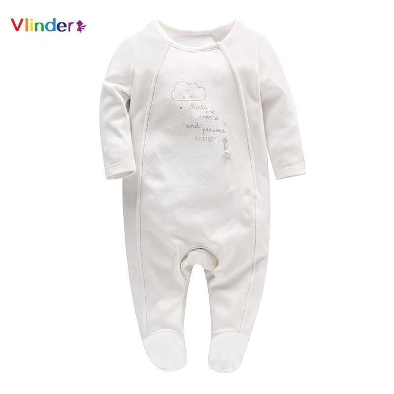 Vlinder 2018 Nieuwe Casual Baby Romper Pasgeboren Wolken Letters Print Botton Kleding Zuigeling Pyjama Lange Mouwen Jumpsuit Katoen Snug