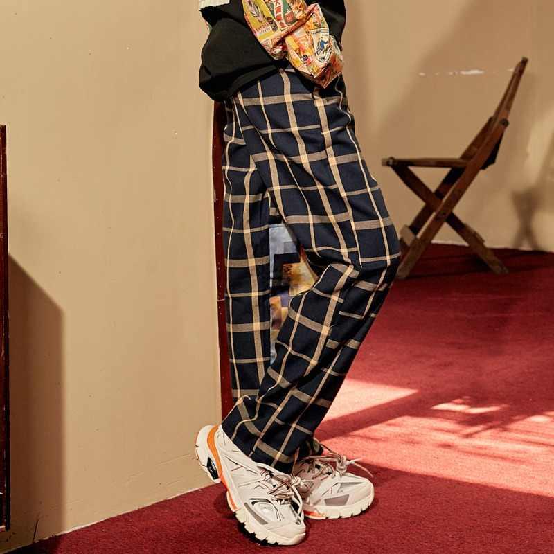 UNIFREE/Новое поступление 2019 года; осенние брюки для женщин в стиле ретро; уличный стиль; повседневные женские брюки в клетку с принтом; женская одежда; U193P002AA