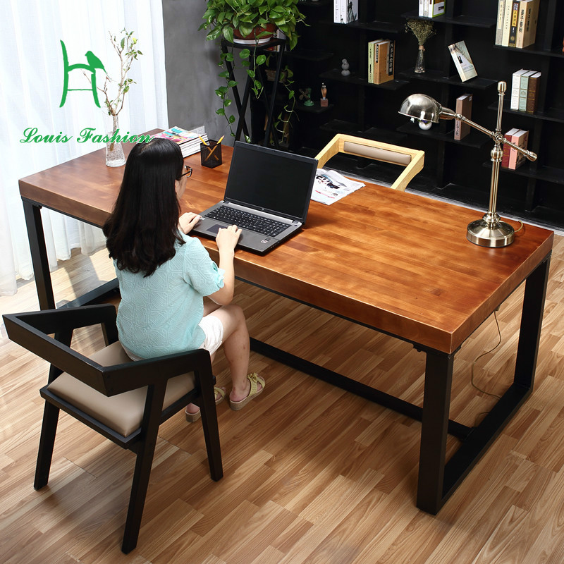 pure solid wood desk simple computer desk green desk home study furniture desk wrought iron - Solid Wood Desk