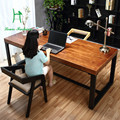 Pure solid wood desk Simple computer desk green desk home study furniture desk, wrought iron table,