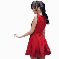 2015 Summer Red Dress Korean Style Chiffon Dress Patchwork Draped Cute Small Fresh Dress D4 Robe