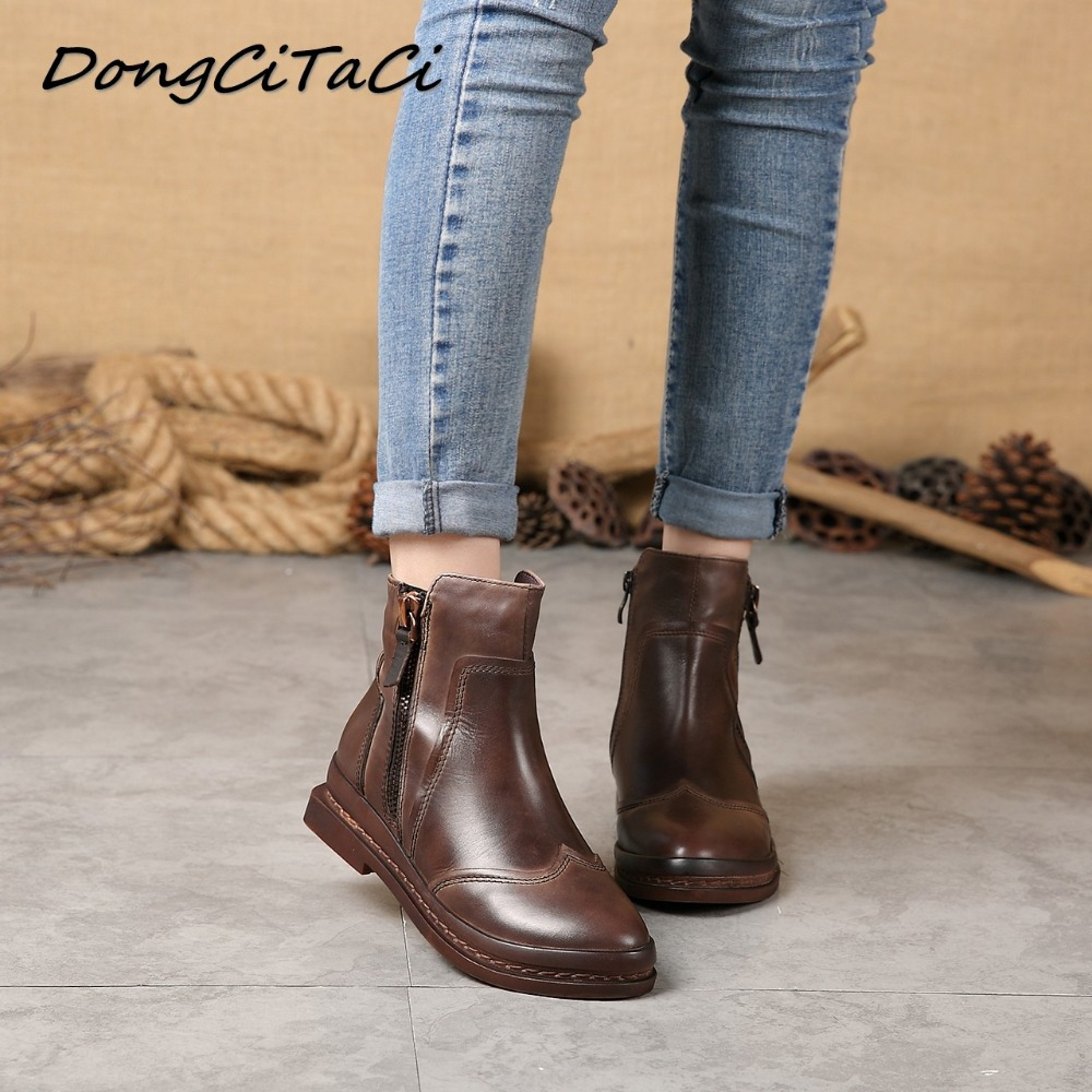 DongCiTaCi Autumn Winter Women Cow Leather Snow Boots Shoes Woman Retro Ankle Genuine Leather Short Brown  BootsDongCiTaCi Autumn Winter Women Cow Leather Snow Boots Shoes Woman Retro Ankle Genuine Leather Short Brown  Boots