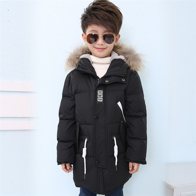 Boys Long Down Jacket Winter Coat 2017 New Fashion Thick Warm Solid Big Fur Collar Outerwear 120-170 High Quality new brand women s middle aged and old long down jacket female bigger sizes mother fur collar clothing winter coat printing hot